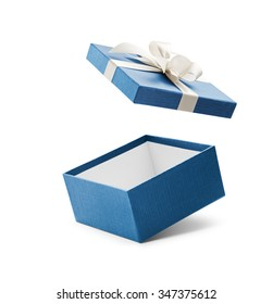 Blue open gift box with white bow isolated on white - Shutterstock ID 347375612