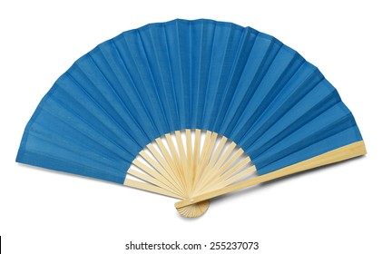 Blue Open Hand Fan Isolated on a White Background.