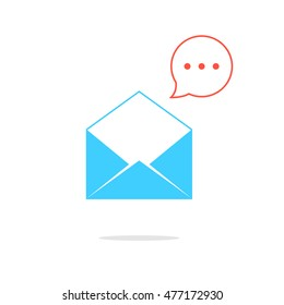 blue opened letter with red speech bubble. concept of sms, spam, writing, postcard, salutation, chatting, mailbox, textual talking, checking email. flat style modern logo design illustration