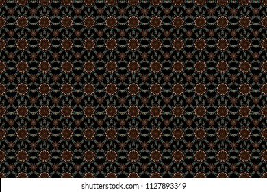 Blue, orange and brown abstract floral ornament, raster seamless pattern of abstract decorative elements.