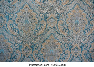 Blue and orange classic damask wall