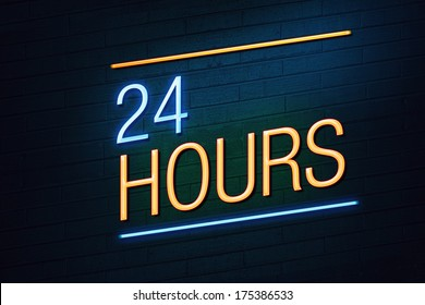 Blue and orange neon sign with 24 hours text on wall