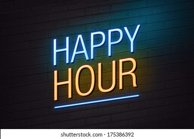 Blue and orange neon sign with happy hour text on wall