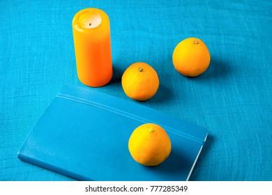 blue and orange still life
