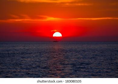 Blue orange sunset on mediterranean sea at Balearic Islands