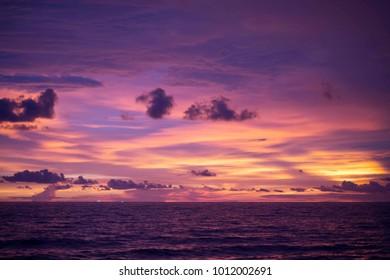 Blue and orange sunset sky