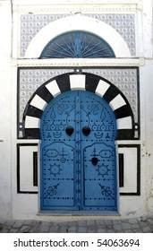 "Blue oriental doors in Sidi Bou Said, ""Blue city"", Tunisia"