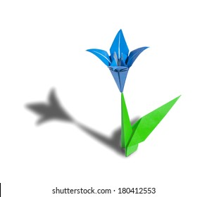 Blue Origami Flower Lily Isolated On White