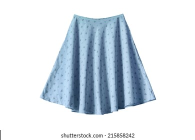 Blue ornamental wide skirt on white background