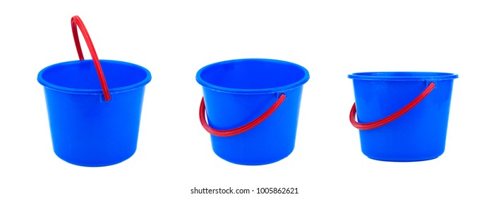 blue pail isolated on white background