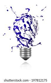 Blue paint burst made conceptual light bulb