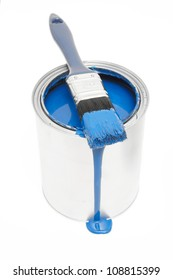 blue paint can isolated on white background