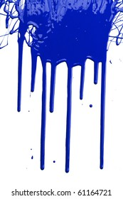 Blue paint dripping isolated over white background