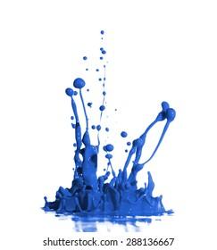 Blue Paint Splash isolated in White Background