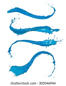 Blue paint splashes collection isolated on white background