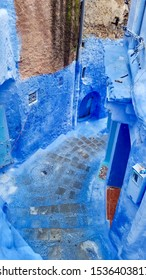 Blue painted alleyway of Chefchaouen Morocco
