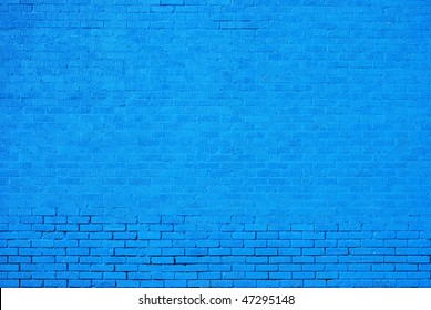 Blue Painted Brick Wall Background