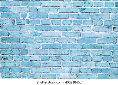 Blue painted brick wall texture as background
