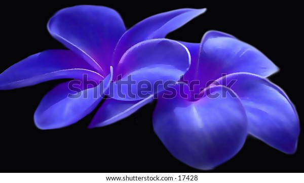 Blue painted flowers