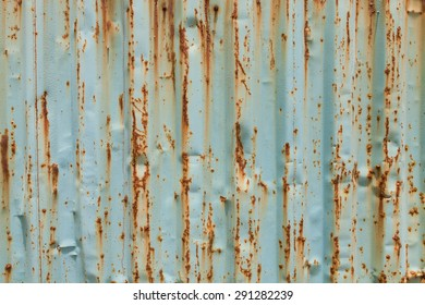 Blue painted metal with rust texture