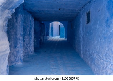 Blue painted street in Chefchaouen, Morocco