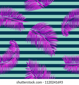 Blue palm leaves seamless pattern, on blue striped background. Tropical texture for web and print design, cover, poster.