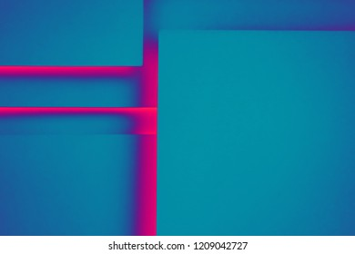 Blue paper concept background with red shadow and copy space. Geometric layer design.