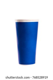 Blue paper cup isolated on white background.