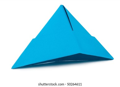 Blue paper hat isolated on white background