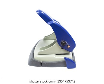 Blue paper hole puncher of office stationery isolated on white background