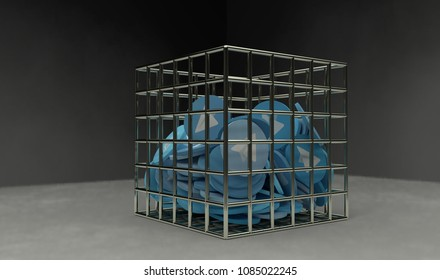 Blue paper plane coins in the jail 3d render