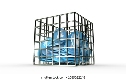 Blue paper plane coins in the jail isolated 3d render