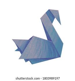 Blue paper swan. Stock illustration.