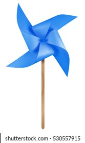 Blue paper windmill pinwheel isolated on white with Clipping Path