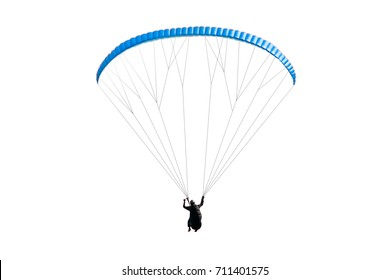 Blue paraglider in flight on a white background. Isolated