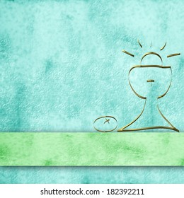 blue parchment background and simple first communion chalice