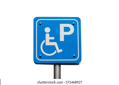Blue parking sign for disabled or wheelchair isolated on white background