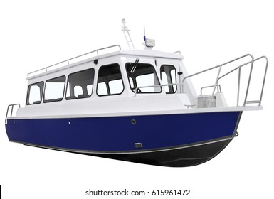 Blue passenger boat, isolated on a white background.
