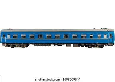 Blue passenger wagon isolated on white. Old soviet wagon.