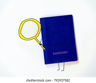 blue passport with painted hands and feet holds a huge yellow lupa