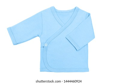 blue pastel baby boy baby's loose jacket with long sleeve isolated on a white background