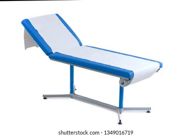 BLue patient Examination Table. doctor's office on white