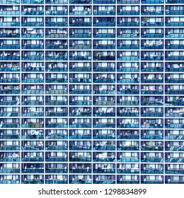 Blue pattern with small balconies and windows in Osaka, Japan