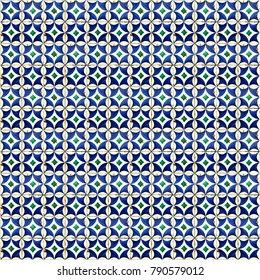 Blue pattern tiles in Lisbon, Portugal