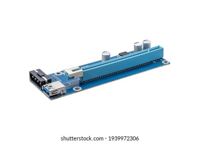 blue pci riser extender adapter isolated on white background. mining equipment cut out.