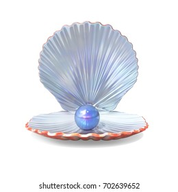 Blue Pearl in a Shell isolated on White Background. 3D illustration