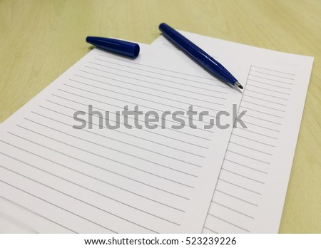 blue pen blank paper lines on stock photo edit now 523239226