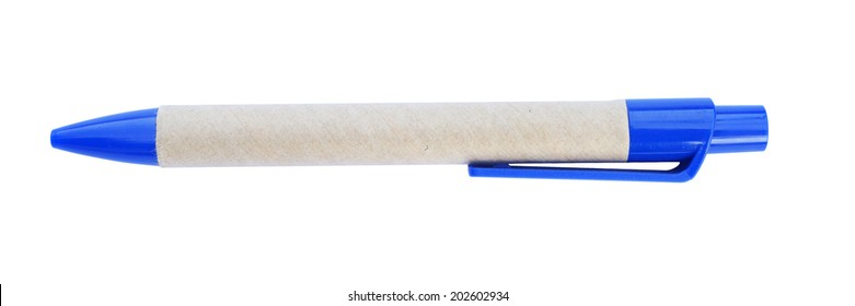 Blue pen rolled brown paper  on it with isolated white background