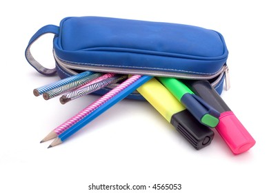 Blue pencil bag with pencils and highlighters