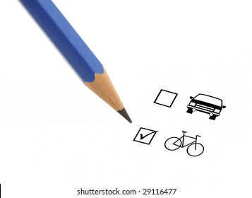 Blue pencil choosing bicycle instead of a car on a questionnaire